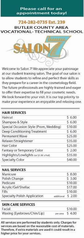 Cosmetology Salon Open To The Public / Cosmetology Salon Price List
